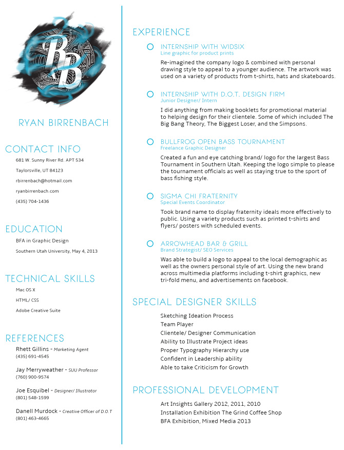 resume ryan birrenbach design